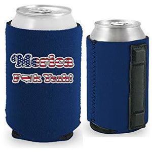 navy blue magnetic can koozie with merica fuck yeah design