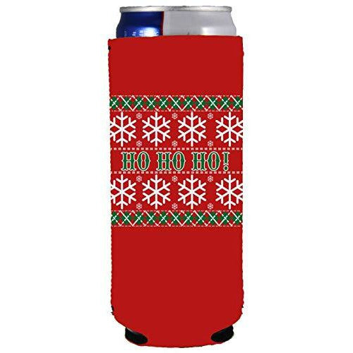 slim can koozie with ho ho ho christmas design