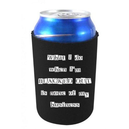 can koozie with blacked out design