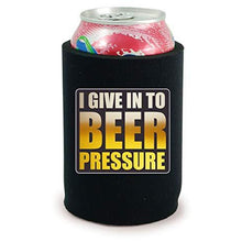 Load image into Gallery viewer, full bottom can koozie with i give into beer pressure design