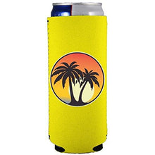 Load image into Gallery viewer, slim can koozie with palm tree sunset design