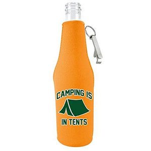 Orange zipper beer bottle koozie with opener and funny camping is in tent design