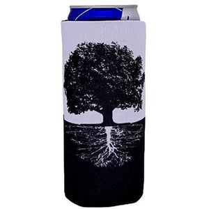 slim can koozie with tree of life roots design