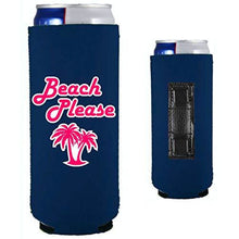 Load image into Gallery viewer, navy magnetic slim can koozie with beach please funny design