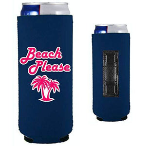 navy magnetic slim can koozie with beach please funny design