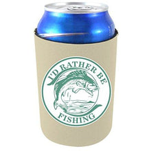 "Load image into Gallery viewer, khaki can koozie with ""i'd rather be fishing"" circular design with bass fish illustration in middle"