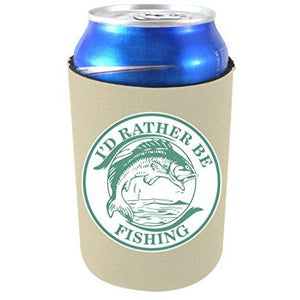 "khaki can koozie with ""i'd rather be fishing"" circular design with bass fish illustration in middle"