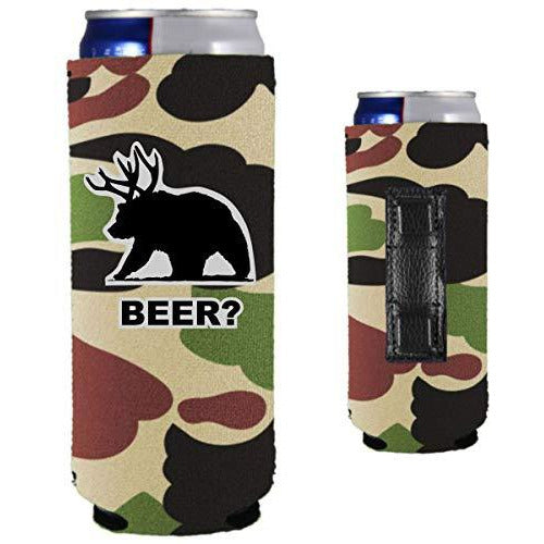 camo magnetic slim can koozie with funny beer bear design