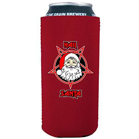 16 oz can koozie with hail santa design