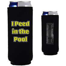Load image into Gallery viewer, black magnetic slim can koozie with funny i peed in the pool text design
