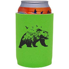 Load image into Gallery viewer, bright green full bottom can koozie with mountain bear graphic design