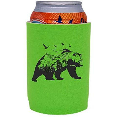 bright green full bottom can koozie with mountain bear graphic design