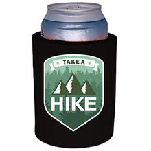 Load image into Gallery viewer, black old school thick foam koozie with take a hike design