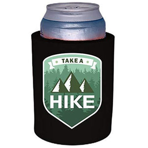 black old school thick foam koozie with take a hike design