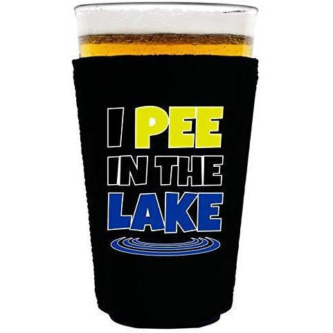 "black pint glass koozie with ""I pee in the lake"" funny text design"