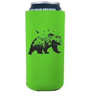 bright green 16oz can koozie with mountain bear graphic design