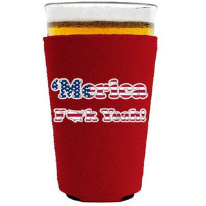Merica F Yeah Pint Glass Coolie