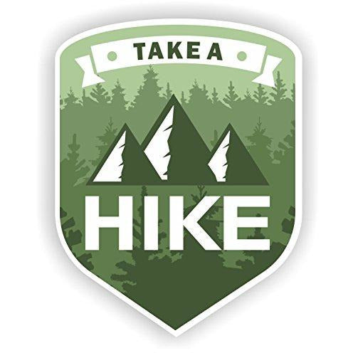 vinyl sticker with take a hike design