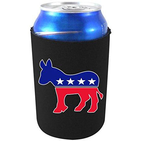 black can koozie with democratic logo design