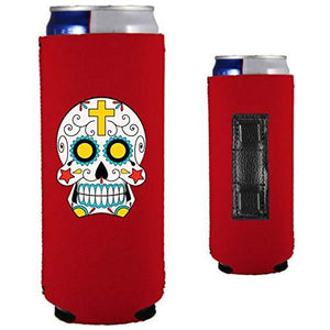 red magnetic slim can koozie with sugar skull graphic design