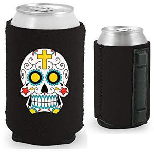 black magnetic can koozie with sugar skull graphic design