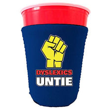 Load image into Gallery viewer, royal blue party cup koozie with dyslexics untie design