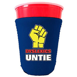 royal blue party cup koozie with dyslexics untie design