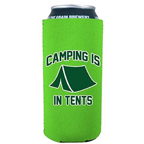 16oz can koozie with camping is in tents funny design