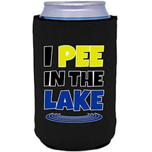 "Load image into Gallery viewer, Black can koozie with ""I pee in the lake"" funny text design"