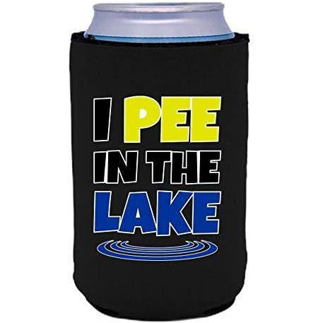 "Black can koozie with ""I pee in the lake"" funny text design"