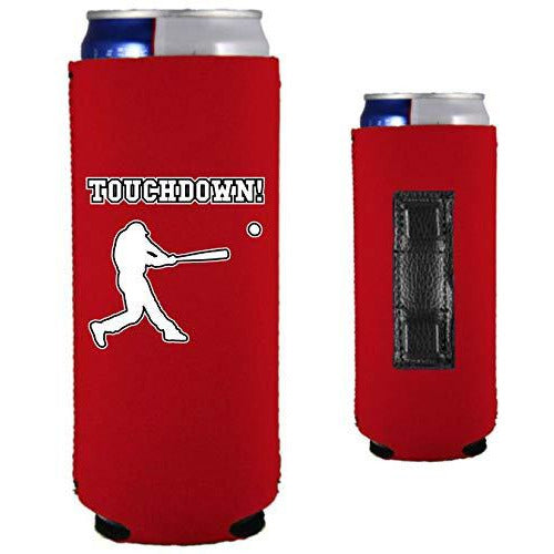 red magnetic slim can koozie with touchdown! (baseball player hitting) funny design