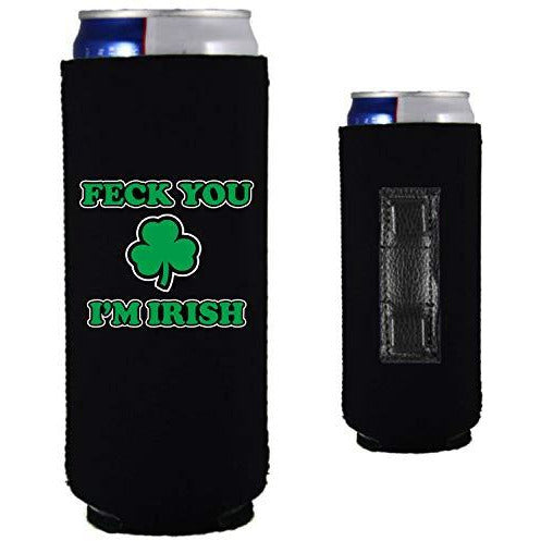 black magnetic slim can koozie with feck you I'm irish funny design