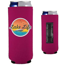Load image into Gallery viewer, magenta magnetic slim can koozie with lake life boat and sunset design