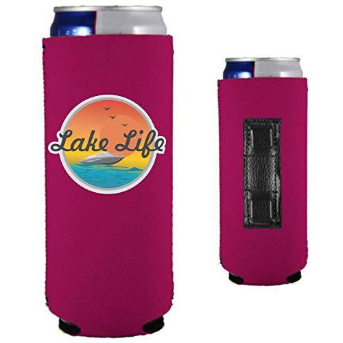 magenta magnetic slim can koozie with lake life boat and sunset design