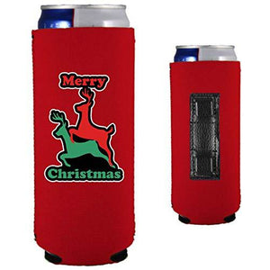 Merry Christmas Reindeer Humping Magnetic Slim Can Coolie