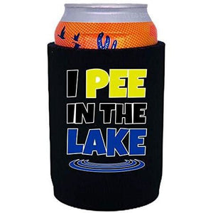 "Black thick neoprene can koozie with ""I pee in the lake"" funny text design"