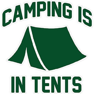 vinyl sticker with camping is in tents design