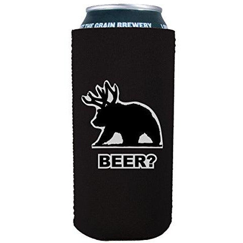 16oz can koozie with beer bear funny design
