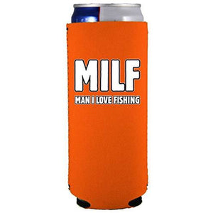 Milf Man I Love Fishing Slim 12 oz Can Coolie