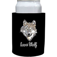 Load image into Gallery viewer, black old school thick foam koozie with lone wolf design