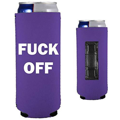 purple magnetic slim can koozie with fuck off text in white