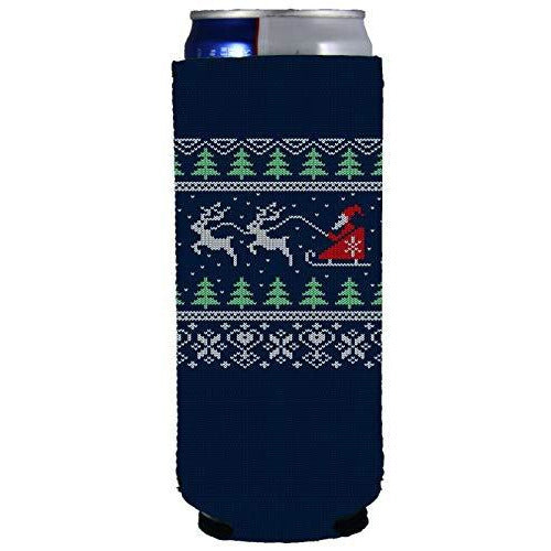 slim can koozie with christmas design