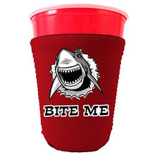 Load image into Gallery viewer, red party cup koozie with bite me shark design