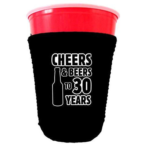 black party cup koozie cheers and beers to 30 years design