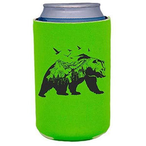 bright green can koozie with mountain bear graphic design