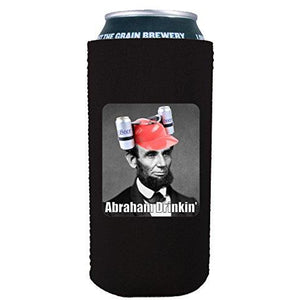 16oz can koozie with abraham drinkin funny design