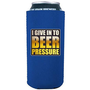 16oz can koozie with funny beer pressure design