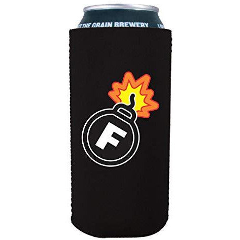 black 16oz tallboy can koozie with f bomb funny design