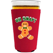 Load image into Gallery viewer, pint glass koozie with oh snap design