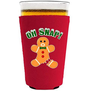 pint glass koozie with oh snap design